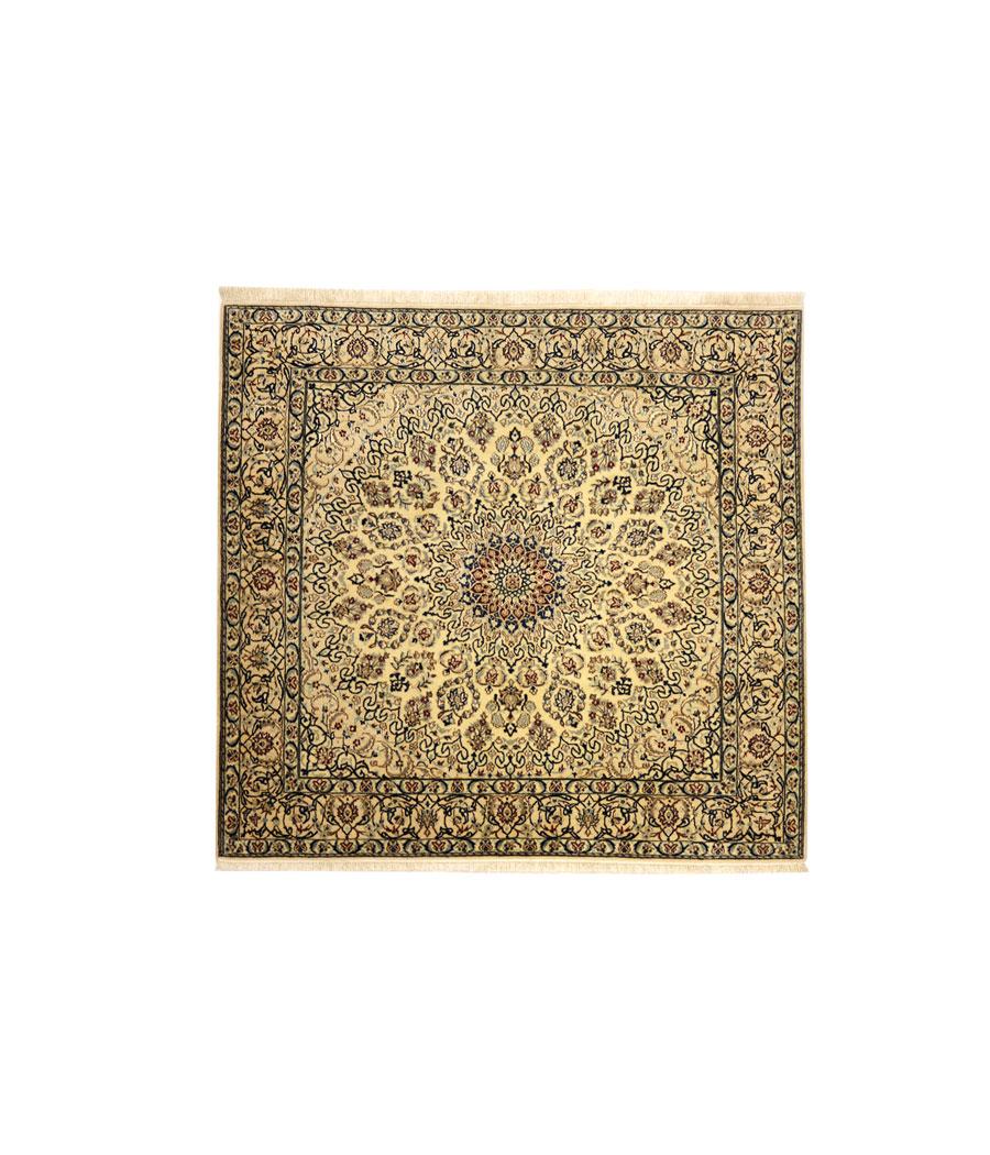 Alfombra persa nain de lana y seda hecha a mano n 465 - Alfombras hechas a mano con lana ...
