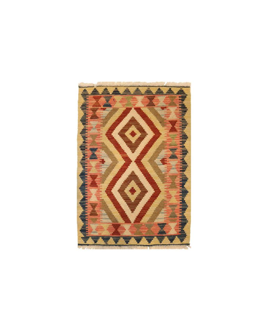 Kilim afghano de lana hecha a mano con tinte vegetal 60x90 - Alfombras hechas a mano con lana ...