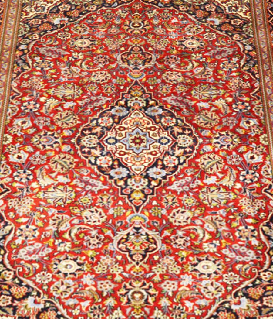 Alfombra persa kashan de lana kork y hecha a mano n 452 for Alfombras hechas con lana