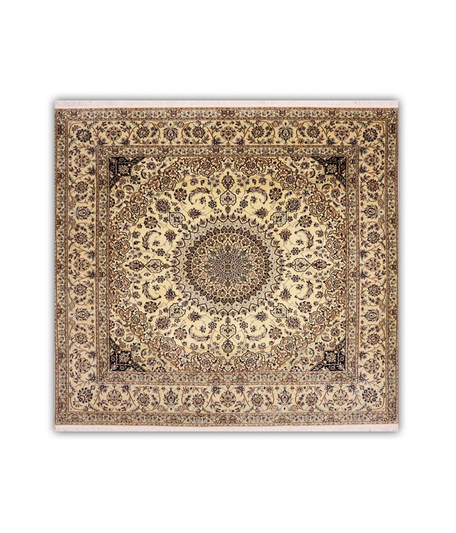 Alfombra persa nain 6la de lana y seda hecha a mano n 480 - Alfombras hechas a mano con lana ...