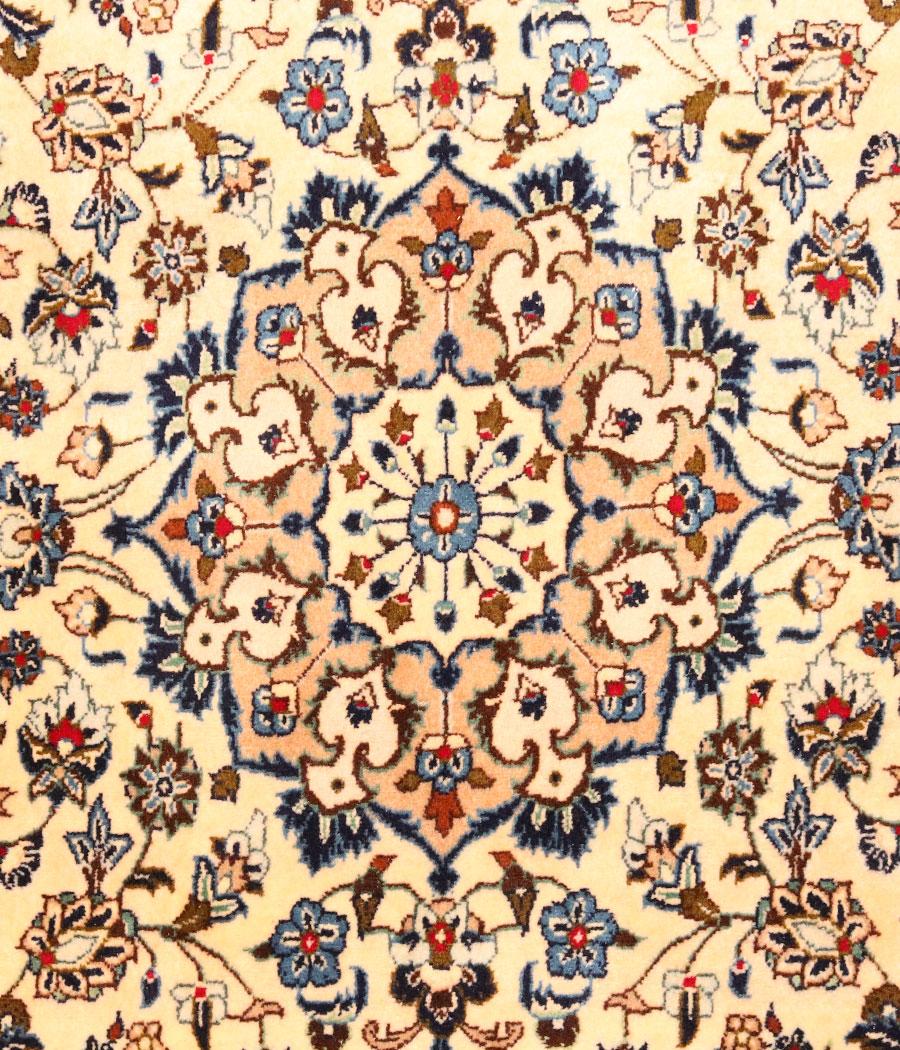 Alfombra persa kashan de lana hecha a mano n 779 alfopersia for Alfombra persa azul