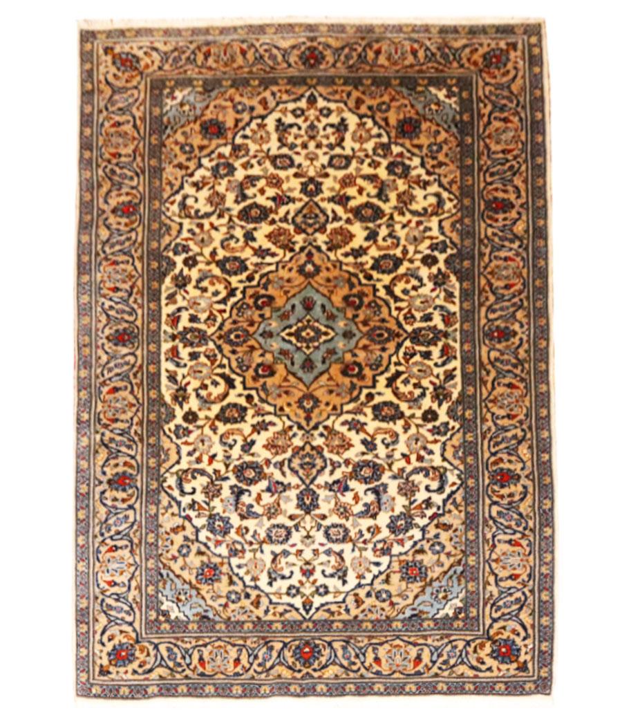 Alfombra persa kashan de lana hecha a mano n 780 alfopersia for Alfombras hechas con lana