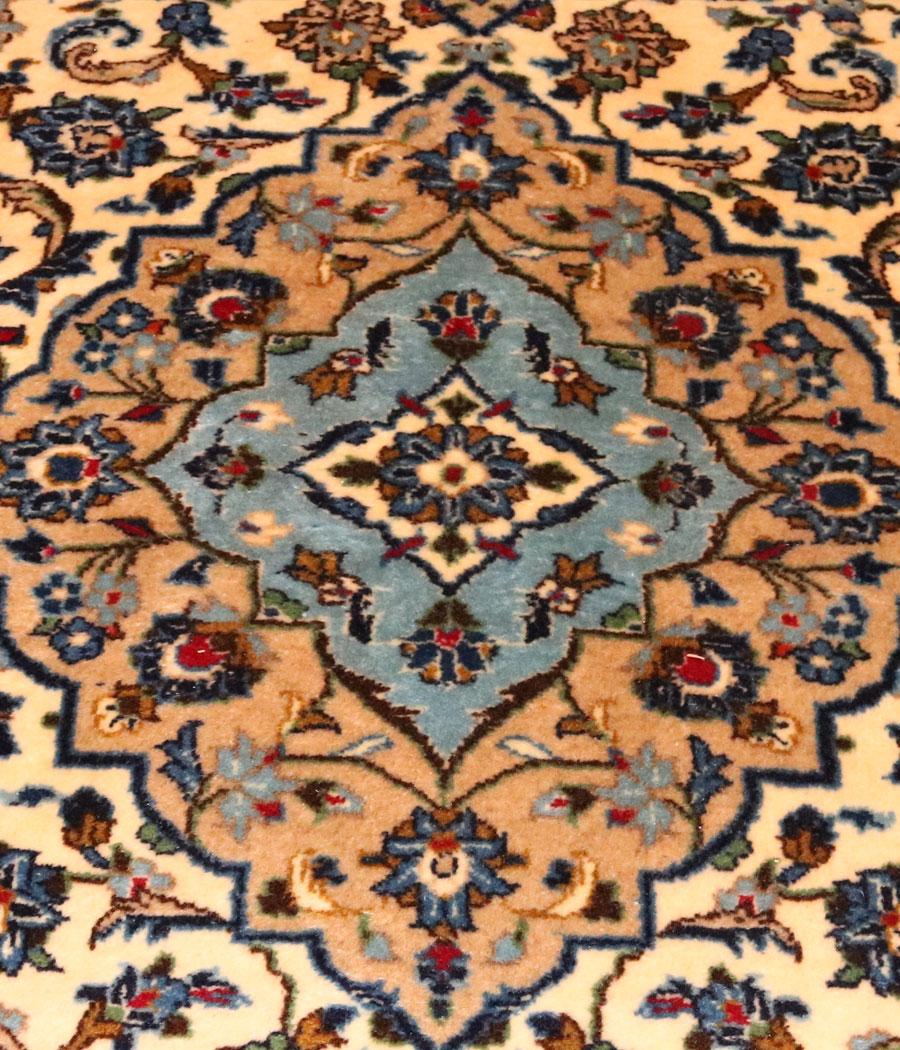 Alfombra persa kashan de lana hecha a mano n 780 alfopersia for Alfombra persa azul