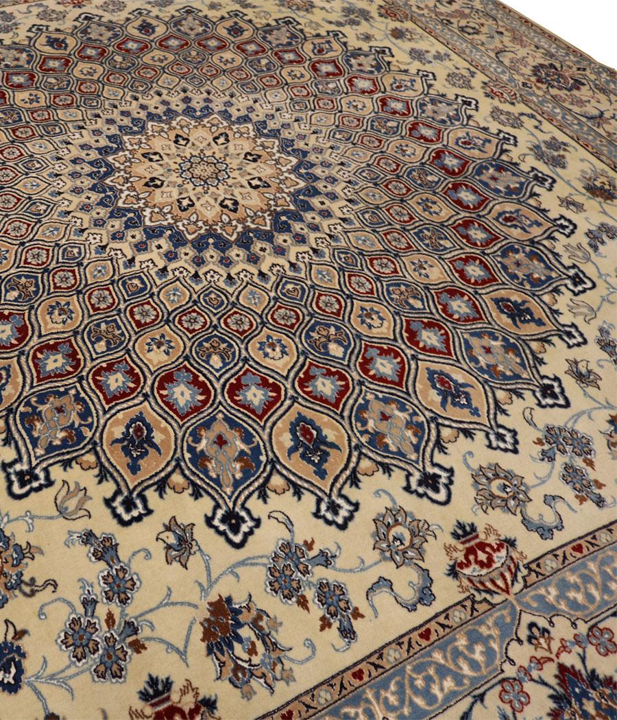 Alfombra persa nain de lana y seda hecha a mano n 451 - Alfombras hechas a mano con lana ...