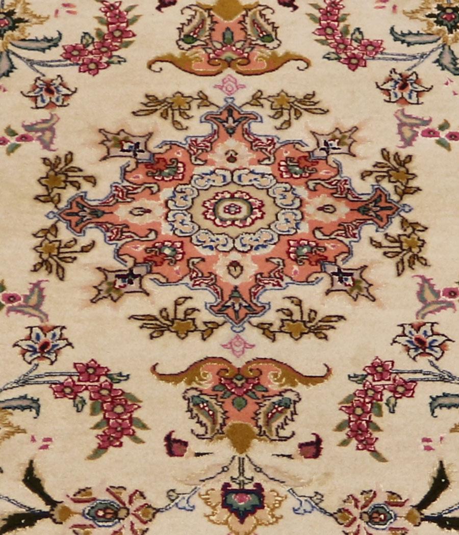 Alfombra persa tabriz de lana y seda hecha a mano n 431 for Alfombras nudos hechas mano